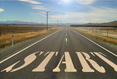 Image of two lane country road with the word 'Start' across the road depicting the start of the disaster recovery activation process.