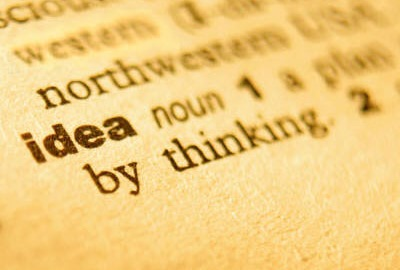 Image of dictionary page with the word 'idea' highlighted to remind one to provide a project definition.