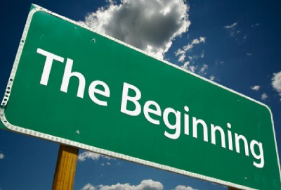 Image or road sign 'The beginning' as we use for project kickoff steps.