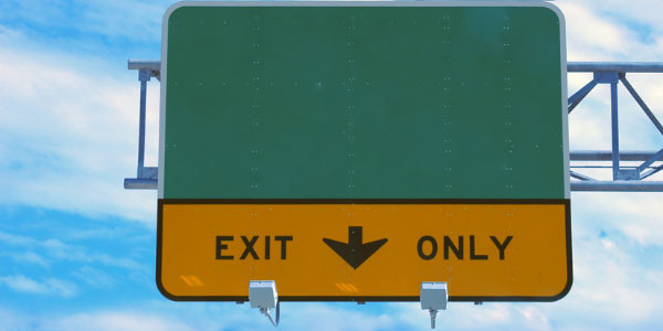Image of road sign 'exit only' signifying the need to discontinue troubled projects.