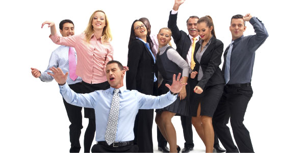 Image of a group of young business people cheering representing the need for project success criteria.