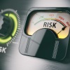 Image of audio meter labeled 'risk' depicting the need to control risk via risk management.